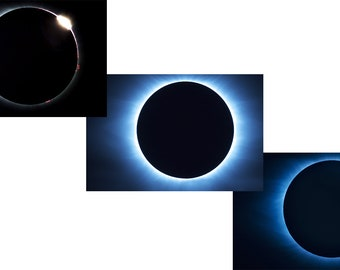 Set of 3 Eclipse Metal Prints - Ready to Hang Wall Art - Interior Decor
