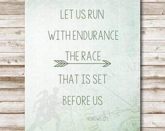 Bible Verse Printable Hebrews 12:1 Race Marathon Bible Verse Print Inspirational Quote Printable Art Rustic 5x7 8x10 11x14