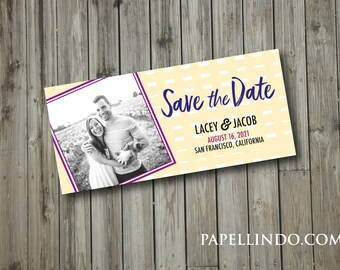 Save The Date Modern Photo Magnet