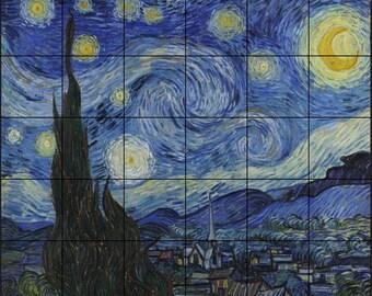 Handmade, Ceramic Tile Mural Backsplash,Starry Night 30 x 36