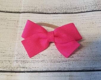 3 Inch Hot Pink Felt Bow Headband