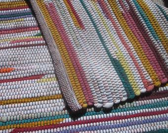 multicolor handwoven rag rug