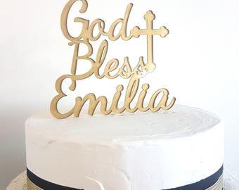 God Bless Cake Topper, Personalized God Bless Cake Topper, Baptism Cake Topper, Christening Cake Topper, Communion Cake Topper, God Bless