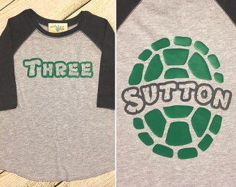 Ninja Turtle toddler raglan OR t-shirt| birthday shirt | 2nd, 3rd, 4th, 5th Birthday | turtle shell | teenage mutant | personalized