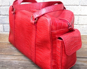 Red Overnight Bag Travel Bag Carry On Luggage Suitcase