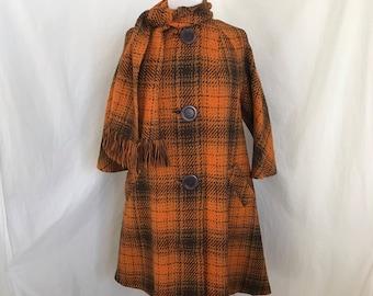 1960s Swing Coat & Scarf Large/XL Women's Orange Brown Plaid 3/4 Sleeves Oversize Buttons Wool Tweed Pea EUC