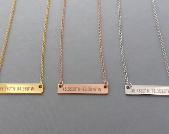 Coordinate Necklace-Rose Gold Necklace-Personalized Gold Bar Necklace-Coordinate Necklace-Personalized Necklace-Gift For Her-Valentines Gift
