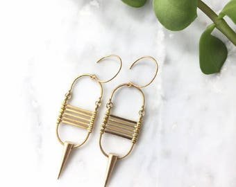 Brass Points and Lines Earrings
