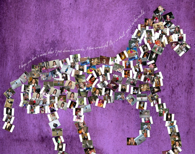 Custom Horse Canvas Mosaic Collage Picture Gift Pet Lover Wall Art 30x30