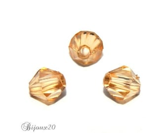 50 top 5mm light brown Champagne faceted bicone set M02601-06