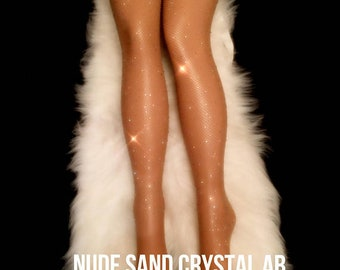 Sale Crystal Fishnet Tights. Black & Skin Tone Rhinestone Fishnet Tights. Handmade Crystallized Diamond Rhinestone High Waist Fishnet Tights