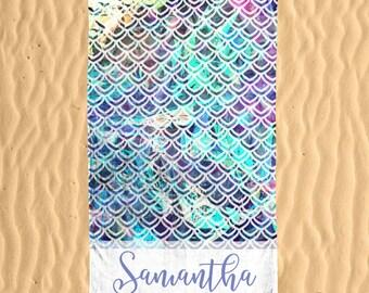 Personalized Mermaid Beach Towel - Mermaid Tale Glitter 30x60 Beach Towel