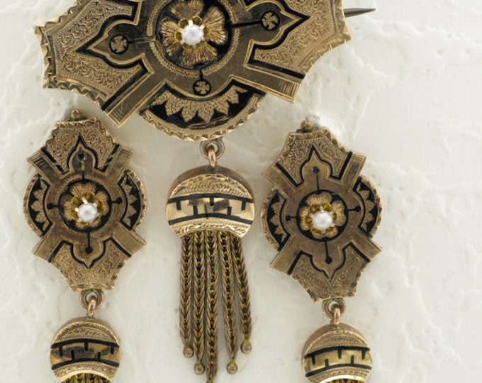 Ladies 14 Karat Yellow Gold Victorian Pin and Earring Set with Black Enamel and Tassels