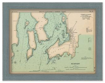 Newport Rhode Island - Nautical Chart by George W. Eldridge 1901 Colored Version 0331