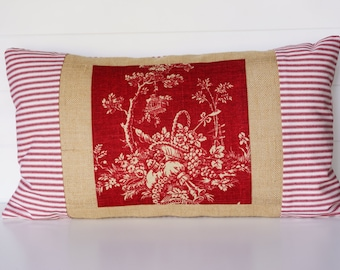 Country French Toile, Red and White Ticking with Burlap Pillow Cover, Lumbar Pillow, Waverly Country House Red Toile, 14x24 Cushion