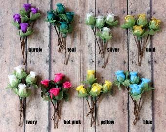 Flower Rosebuds Hair Pins. Flower Hair Pins. Whimsical. Bridesmaids. Rustic Wedding. Woodland. Hair Accessories. Fall, Autumn