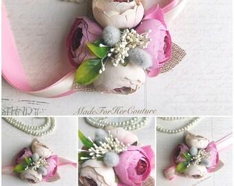 Pink Corsage, Wrist Flower, Wrist Corsage, Wedding Corsage, pink ivory Corsage, Rustic Corsage, Wedding Wrist Band, Wedding wrist corsage