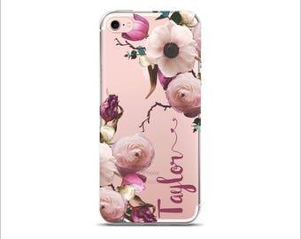 Personalized Clear transparent case iPhone X  8 Plus 7 Plus iPhone 6/6S iPhone 6 Plus Galaxy S8 Floral Vintage Romantic Anemones Flower