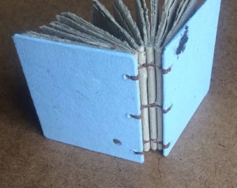 Small blue journal, handmade paper, sketch book, travel journal, guest book, recycled guestbook, sketch book, diary, light blue book, brown