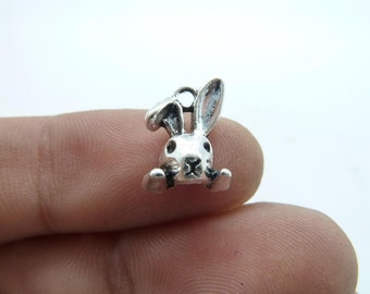 30pcs 9x13mm Antique Silver Mini Buck Rabbit Head Charms Pendant c6708