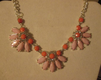 SALE Peach and Coral Glass Cystal Necklace
