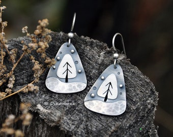 Sterling Silver Earrings Triangular Artisan Winter Trees Nature Minimalist Metalwork Metalsmith Metal Art Jewelry Oxidized Silver Earrings