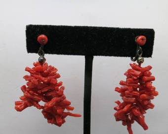 Coral earrings vintage Italian red branch coral screw on