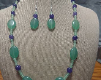 Green Aventurine and Amethyst Two Piece Set