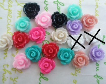 Tiny rose cabochons 20pcs PD 003 10mm MIX (White Sold out )