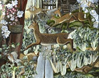 Deer Running at Slabsides Art Print of Original Painting