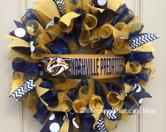 Nashville Predators Wreath, Predators Deco Mesh Wreath, Nashville Predators Decor, Preds Wreath, Hockey Wreath