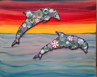 Rainbow Dolphins. Dolphin Gift. Dolphin Lover Gift.  Unique Birthday Gift. Beach Decor.  ButtonArtByCarol.