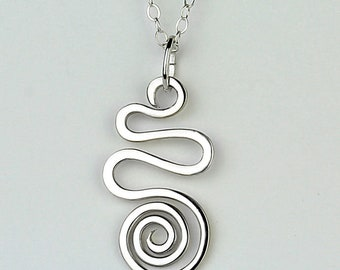 Spiral Necklace, Silver Spiral Necklace, Silver Wire Spiral Pendant, Sterling Silver Necklace, Swirl Pendant, Silver Wire Necklace,