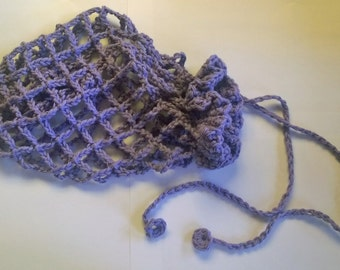 Crochet market produce bag - lilac purple