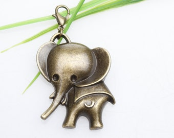 Own Charm ~- Antique Bronze Elephant Charms Pendant 30x41mm Antique Brass Elephant Charms