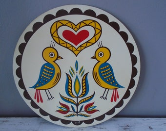 Fancy Pennsylvania Dutch marriage hex sign / circular wooden plaque with goldfinchs, tulip, heart / happiness, love hex sign / folk art
