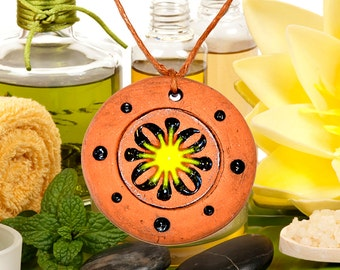 Aromatherapy pendant essential oil perfume necklace Terracotta Clay fragrance diffuser #G18