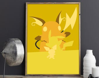 Pokemon Poster Pikachu Print Pokemon Wall Art Minimalist pIchu Print Raichu Poster Videogames Gift Minimalist Pokemon Pokemon Decor & Pokemon wall art | Etsy