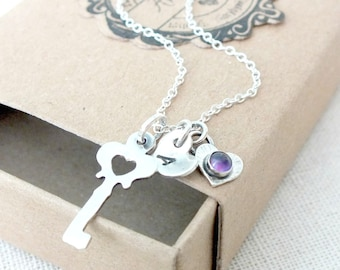 Personalised Key Necklace, Sterling Silver Key Necklace, 18th Birthday Gift, Key Initial Necklace, Amethyst Key Necklace, Graduation gift