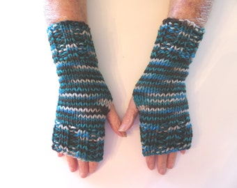 Hand Knit Fingerless Mittens/Texting Gloves -Tropical Storm:turquoise/brown/beige Wrist Warmers- One Size