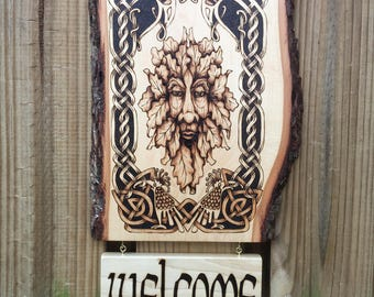 Welcome Sign, Wall Decor, Door Greeting: Handcrafted hanging wooden decor w/ Surname or Greeting, customization available - MADE TO ORDER