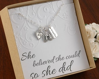 RT Respiratory Therapist Necklace - Sterling Silver - Lung charm - Breathe Charm