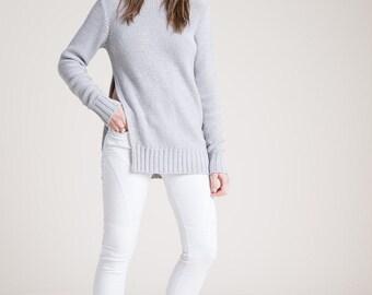Cotton Sweater / Summer Sweater / Summer Jumper / White Sweater / Knitted Sweater / Cut Out Sweater / Marcellamoda k - MB0820