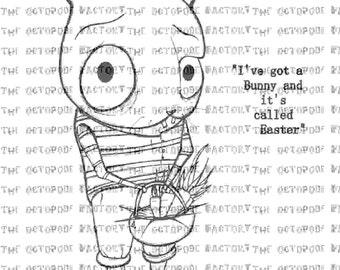 INSTANT DOWNLOAD Easter Bunny digital stamp image