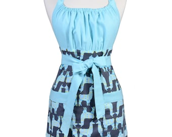 Womens Retro Kitchen Apron Michael Miller Stream Llama Rama in Aqua and Gray Vintage Style with Lined Pocket and Fitted Bodice Top