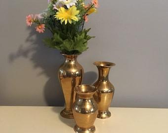 Three Brass Vases