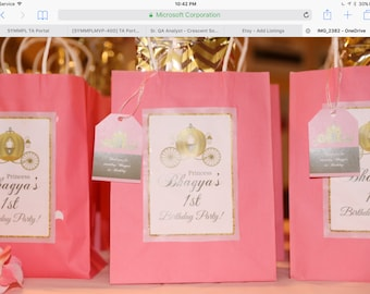 10 Personalized goody bags,Princess theme favor bags,custom treat bags with tags