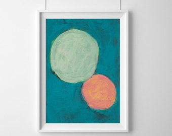 A3 Fine Art Print of Abstract Painting, Mid Century Modern, Aqua Lunar Moon Print, Australian Art