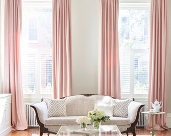 Blush Pink Custom Drapery Collection.Light Pink Linen Drapes.Pink Satin  Drapery Panels.