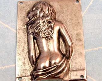 Woman Rectangle Stamping, Antique Pewter, K8